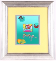 "Peter Max ""Flower Jumper"" Signed 8.5"" x 11"" Original Acrylic Mixed Media Painting 1/1 (Custom Framed to 21"" x 23"") (Max LOA)"