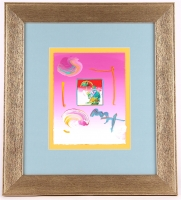 "Peter Max ""Umbrella Man"" Signed 8.5"" x 11"" Original Acrylic Mixed Media Painting 1/1 (Custom Framed to 20"" x 23"") (Max LOA)"