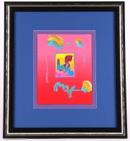 "Peter Max ""Love"" Signed 8.5"" x 11"" Original Acrylic Mixed Media Painting 1/1 (Custom Framed to 19"" x 21"") (Max LOA)"