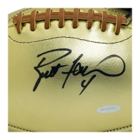 Brett Favre Signed Gold Leather Football (UDA COA) at PristineAuction.com