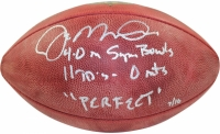 """Joe Montana Signed NFL """"The Duke"""" Football Inscribed """"4-0 in Super Bowls"""", """"11 TD's- 0 int's"""" & """"PERFECT"""" (Steiner COA)"""