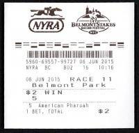 Belmont Stakes American Pharoah $2 Win Ticket