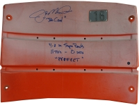 """Joe Montana Signed Candlestick Park Orange Seat Back Inscribed """"4-0 in Super Bowls"""", """"11 TD's - 0 int's"""", & """"Perfect"""" (Steiner COA)"""