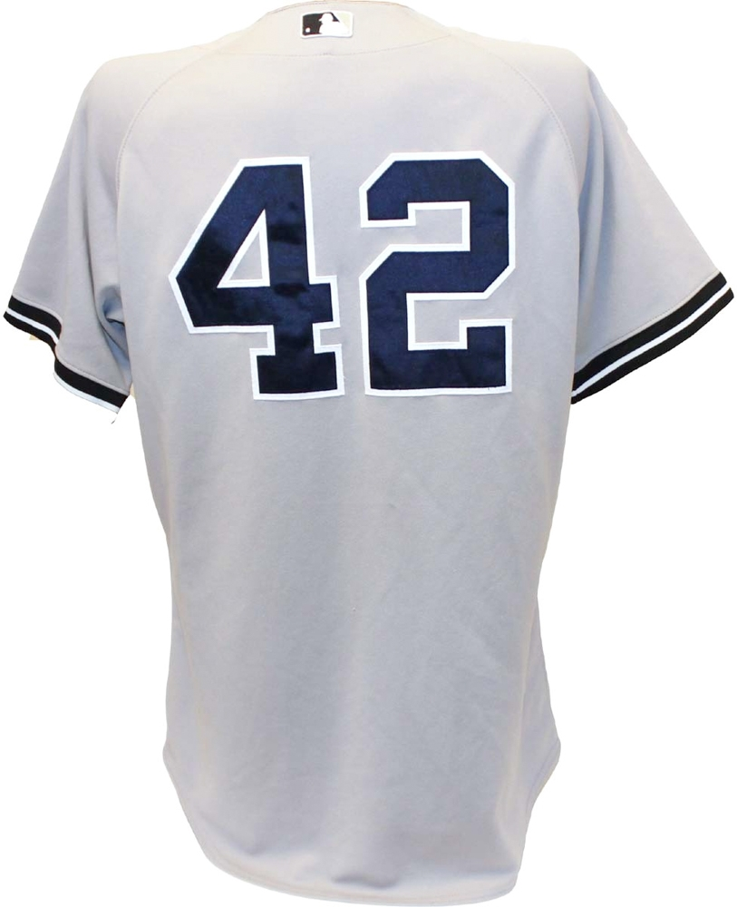 Mariano Rivera New York Yankees 2011 Game Used #42 Grey Jersey (8/7/2011) (Steiner LOA & MLB) at PristineAuction.com