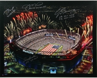Metlife Stadium 30x34 LE Canvas Signed By (4) with Tom Brady, Terry Bradshaw, Joe Montana & Eli Manning (Steiner COA)