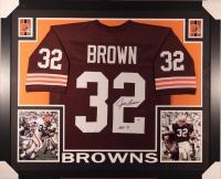 "Jim Brown Signed Browns 35x43 Custom Framed Jersey Inscribed ""HOF 71"" (PSA COA)"