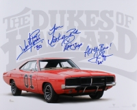 "Catherine Bach, Tom Wopat & John Schneider Signed ""The Dukes of Hazzard"" 16x20 Photo With (3) Inscriptions (JSA COA)"