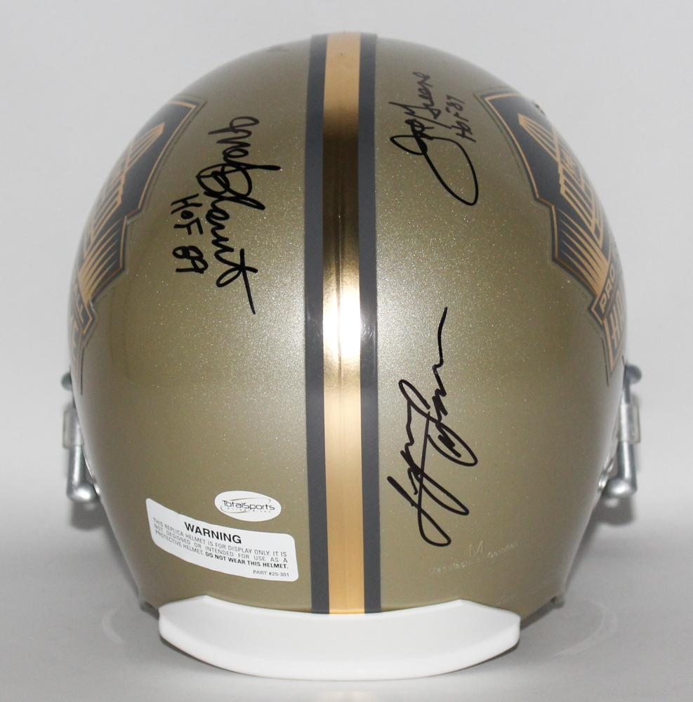 8a60994e3a1 Gold NFL HOF Full-Size Helmet Signed by (5) Steelers Legends with John