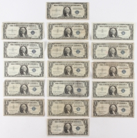 Lot of (17) US $1 One Dollar Blue Seal Silver Certificates Notes with (6) 1935 & (11) 1957