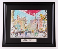 "LeRoy Neiman Signed ""Tour De France: Versaille Cycling"" 19""x22"" Custom Framed Print Display (JSA COA)"