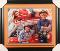 "Catherine Bach, Tom Wopat & John Schneider Signed ""Dukes of Hazzard"" 23"" x 27"" Custom Framed Photo Display with (6) Inscriptions (JSA)"