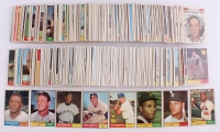 Near Set of (553/587) 1961 Topps Baseball Cards with #2 Roger Maris, #415 Hank Aaron, #344 Sandy Koufax, #417 Juan Marichal RC, #388 Roberto Clemente, #35 Ron Santo RC, #290 Stan Musial, #150 Willie Mays