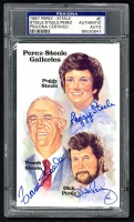 Peggy Steele, Frank Steele & Dick Perez Signed 1980-02 Perez-Steele Hall of Fame Postcards #E Perez-Steele Galleries (PSA Encapsulated) at PristineAuction.com