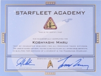 "William Shatner & Leonard Nimoy Signed ""Star Trek"" Kobayashi Maru Certificate (PSA LOA)"