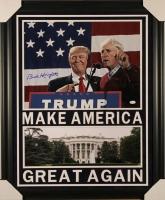 "Bob Knight Signed ""Make America Great Again"" 27x33 Custom Framed Photo Display with President Donald Trump (JSA)"