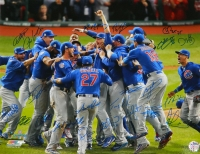 2016 Chicago Cubs Team Signed Chicago Cubs 2016 World Series Pile Up Celebration 16x20 Photo (23 Sigs) at PristineAuction.com