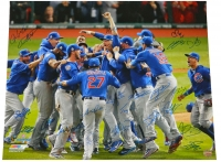2016 Chicago Cubs Team Signed Chicago Cubs 2016 World Series Pile Up Celebration 20x24 Photo (23 Sigs) at PristineAuction.com
