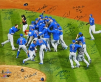 2016 Chicago Cubs Team Signed Chicago Cubs 2016 World Series Celebration 20x24 Photo w/7 Inscriptions (23 Sigs) at PristineAuction.com