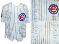 2016 Chicago Cubs Team Signed Chicago Cubs Joe Maddon White Pinstripe Majestic Jersey w/2016 WS Patch (23 Sigs) at PristineAuction.com