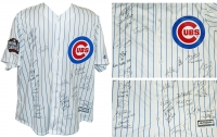 2016 Chicago Cubs Team Signed Cubs Ben Zobrist Pinstripe Majestic Jersey w/2016 WS Patch & 9 Insc. (23 Sigs) at PristineAuction.com