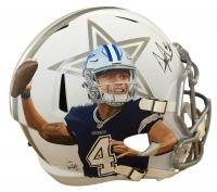 Dak Prescott Signed Cowboys LE Custom Hand Painted Full-Size Matte White ICE Speed Helmet #1/1 (JSA COA)