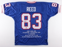 "Andre Reed Signed Bills Career Highlight Stat Jersey Inscribed ""HOF 14"" (MAB)"