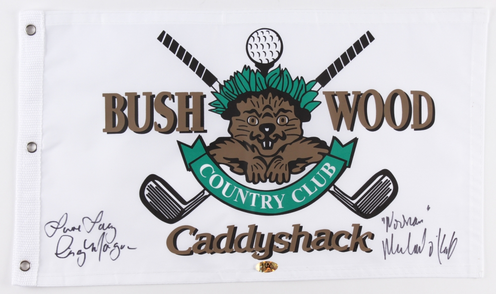 "Cindy Morgan & Michael O'Keefe Signed 12x21 Caddyshack Gopher Logo Bushwood Flag Inscribed ""Love Lacey"" & ""Noonan"" (MAB) at PristineAuction.com"