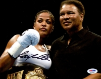 Laila Ali Signed 8x10 Photo With Muhammad Ali (PSA COA)