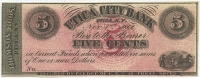 1862 5 Five Cents Utica, NY - Thomson Bros. at Utica City Bank Remainder Bank Note Bill (High Grade Condition)