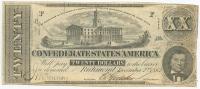 1862 $20 Twenty Dollars Confederate States of America Richmond CSA Bank Note Bill (T51)