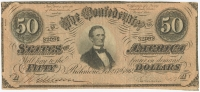 1864 $50 Fifty Dollars Confederate States of America Richmond CSA Bank Note Bill (T66)