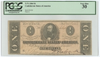 1864 $1 One Dollar Confederate States of America Richmond CSA Bank Note Bill (T-71) (PCGS 30 - Very Fine)