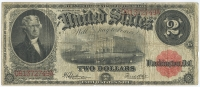 1917 $2 Two Dollars U.S. Legal Tender Currency Bank Note Bill (Fr. 60 Large Note)