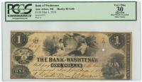 1854 $1 One Dollar Ann Arbor, MI - Bank of Washtenaw Bank Note Bill (PCGS 30 - Very Fine)