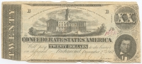1862 $20 Twenty Dollars Confederate States of America Richmond CSA Bank Note Bill (T-51)