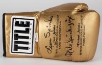 Leon Spinks & Michael Spinks Signed Title Gold Boxing Glove (JSA COA)