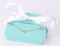 Tiffany & Co. Silver Elsa Peretti 3 Open Heart Necklace