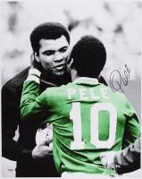Pele Signed Brazil 16x20 Photo with Muhammad Ali (PSA COA)