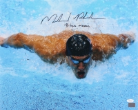 """Michael Phelps Signed 16x20 Photo Inscribed """"18 Gold Medals"""" (JSA COA & Michael Phelps Hologram)"""