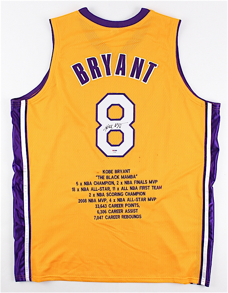 Kobe Bryant Signed Lakers Career Highlight Stat Jersey (PSA LOA ...