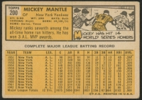 1963 Topps #200 Mickey Mantle at PristineAuction.com