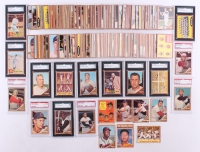 Near set of (582/598) 1962 Topps Baseball Cards with #1 Roger Maris, #471 Mickey Mantle AS, #10 Roberto Clemente (SGC) (6), #300 Willie Mays (PSA) (5), #425 Carl Yastrzemski, #318 Mickey Mantle In Action, #53 AL Home Run Leaders / Roger Maris / Mickey Man
