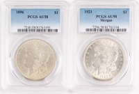 Lot of (2) Graded PCGS AU58 Morgan Silver $1 Dollar Coins