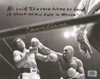 Earnie Shavers Signed 8x10 Photo vs. Muhammad Ali with Extensive Inscription Referencing Ali (Shavers Hologram)