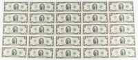 Lot of (25) Uncirculated 2013 Green Seal $2 Two Dollar Bills