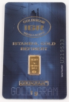 Certified Istanbul Gold Refinery (IGR) 999.9 Solid Gold 1 G Bar
