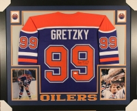 Wayne Gretzky Signed Oilers 35x43 Custom Framed Jersey (JSA LOA)