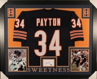 Walter Payton Signed Bears 35x43 Custom Framed Display with Jersey & Signed Index Card (Payton COA)