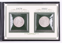 First & Last Year of Issue Morgan Silver Dollar Set of (2) Coins with Booklet