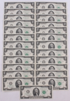 Lot of (25) Uncirculated 2013 Green Seal $2 Two Dollar Bills